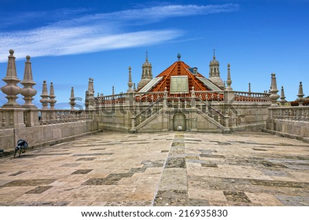 Viewpoint on the roof of famous Monastery Saint Vicente de Fora Monastery, Lisbon, Portugal - stock photo