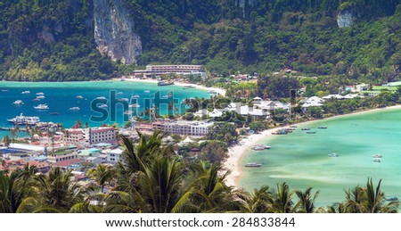 viewpoint Panoramic view tropical island, Phi-Phi Don, Thailand. - stock photo