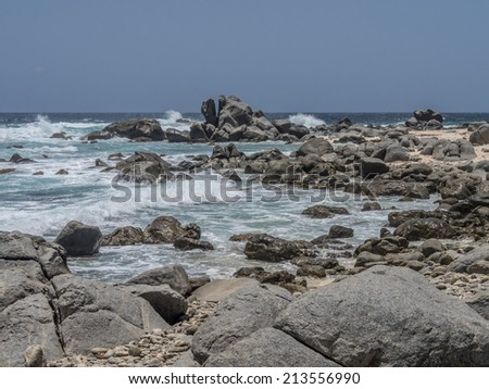 Views around Aruba a small caribbean Island in the Netherland Antilles - stock photo