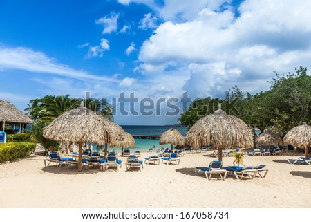 Views around the Hilton Hotel Curacao with their swimming pools and beach - stock photo