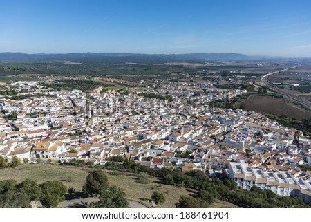 Views from Almodovar del Rio Castle, arab fortress built in 740 on an old building in early times near Cordoba, Andalusia, Spain. - stock photo