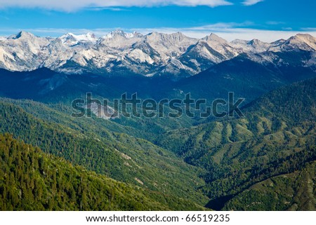 Views from Moro Rock in Sequoia and Kings Canyon National Park, California.  Moro Rock is a large granite dome also found in the Giant Forest area. - stock photo