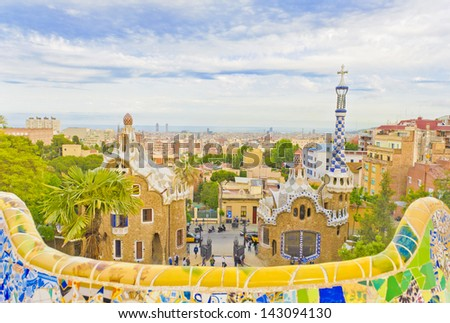 Views from the Parc Guell designed by Antoni Gaudi, Barcelona, Spain. - stock photo