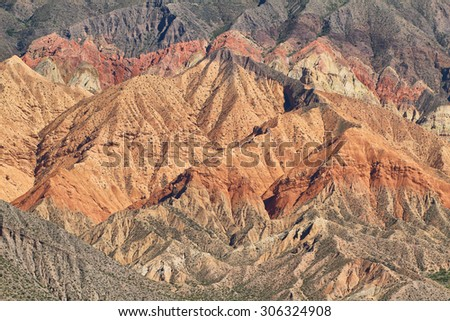 Views of colorful mountains from Tilcara,  Jujuy province, Argentina