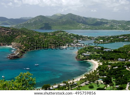 Views English Harbor Freemans Bay Elevation Stock Photo - Elevation point