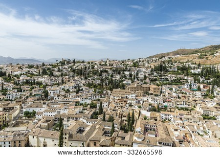 Views of Granada from the Alhambra, Andalusia, Spain - stock photo
