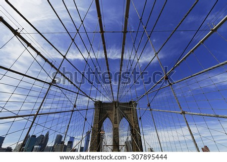 Views of historic Brooklyn Bridge in New York City. - stock photo