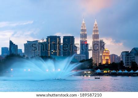 Views of Kuala Lumpur at Lake Titiwangsa, Malaysia - stock photo