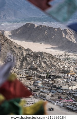 Views of Leh city from the top of Leh Gompa