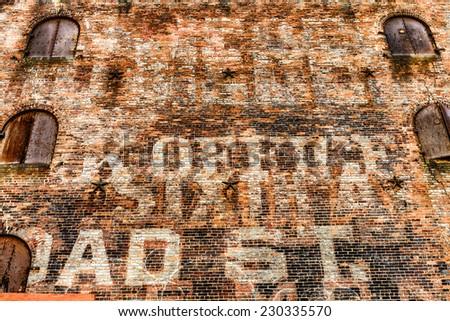 Views of New York City, USA. Brick wall. - stock photo