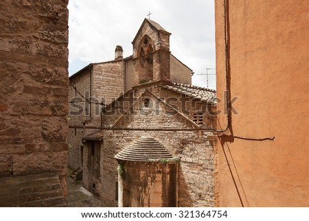 Views of old buildings of the old township of Perugia in the Umbrian region of Italy - stock photo