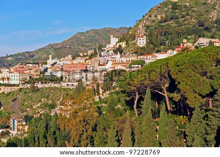 Views of Taormina at sicily close to Etna