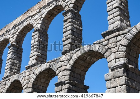 Views of the Aqueduct of Segovia, Spain. It is a roman aqueduct and the date of construction cannot be definitively determined
