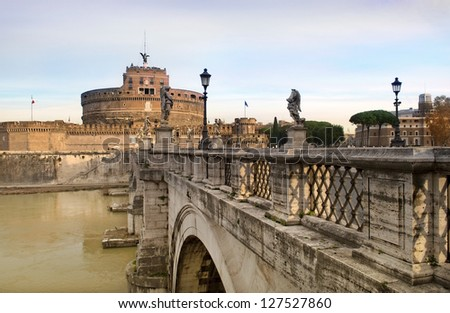views of the Castle Sant'Angelo from the bridge across the river Tiber, Rome, Italy, a series of tour of Rome