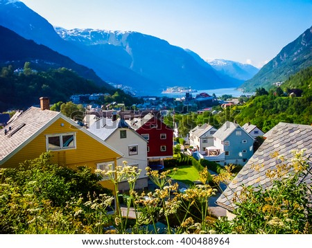 Views of the fjords, small village, forest and mountains
