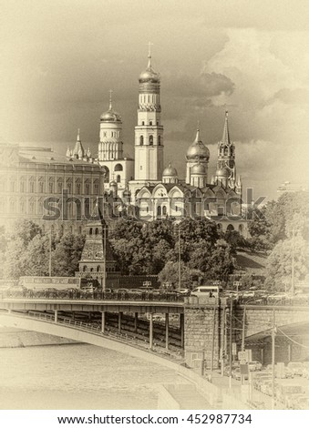 Views of the Grand Palace, the Church and towers of the Moscow Kremlin - Russian Federation (stylized retro) - stock photo