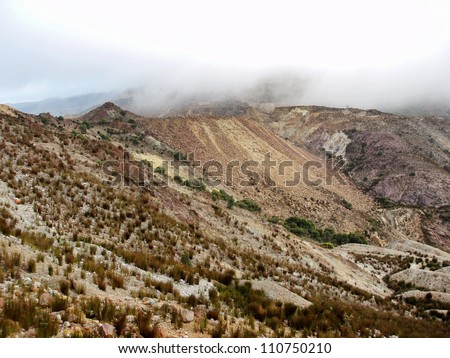 Views of the ladnscape surrounding the township of Queenstown on the east coast of Tasmania - stock photo