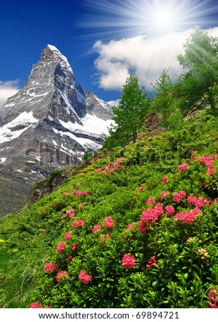 views of the Matterhorn - Swiss Alps - stock photo