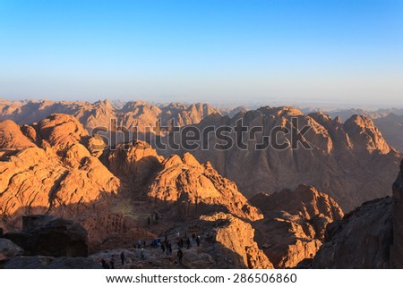 Views of the Sinai desert in Egypt at dawn