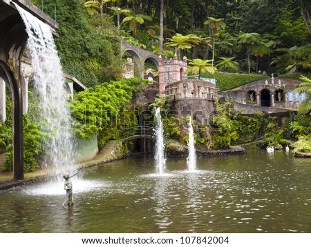 views of tropical gardens in Monte Palace, Funchal, Madeira - stock photo