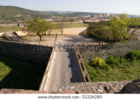 Views on a fort in city Elvas in Portugal