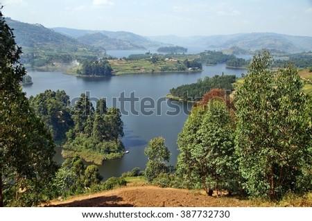 Views on Lake Bunyonyi in Uganda, Africa - stock photo