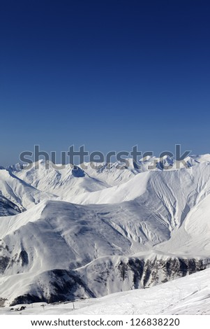 Views on ski resort Gudauri. Caucasus Mountains, Georgia. - stock photo