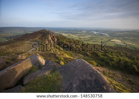 views over Cheshire, England from the roaches - stock photo