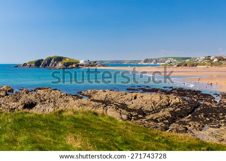 Views towards Burgh Island as seen from Bantham Devon England UK Europe - stock photo