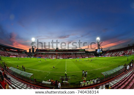 Views Twilight of SCG Stadium before  The Chang F.A Cup 2017 match between Muangthong United and Lampang F.C. at SCG Stadium on September 27, 2017 in Thailand.