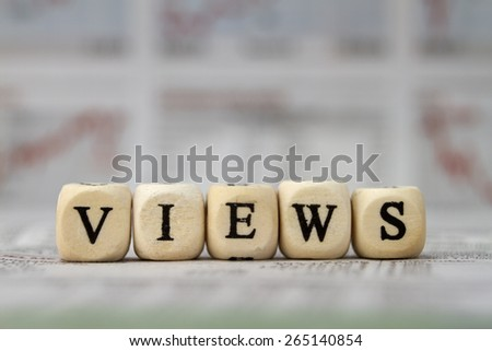 views word built with letter cubes - stock photo