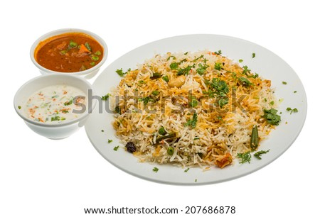Vigetable Briyani - basmati rice vith herbs - stock photo