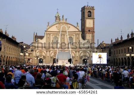 VIGEVANO, ITALY - APR 21: Pope Joseph  Benedict XVI presides over an open-air mass in Piazza Ducale, The Pontiff is visiting the northern Italian town of Vigevano, April 21, 2007 in Vigevano, ITALY.
