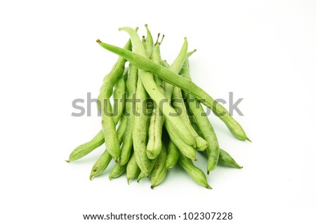 Vigna unguiculata subsp. Sesquipedalis. On a white background.