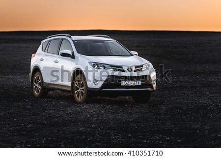 VIK, ICELAND - MAY 08, 2015. Toyota RAV4 four wheel drive SUV on unpaved roads and terrain - stock photo