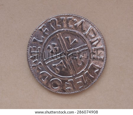 Viking coin - modern replica based on archaeological findings - stock photo