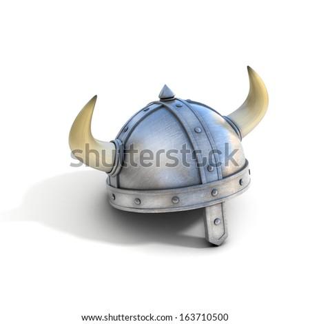 viking helmet - stock photo