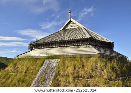 Viking house in Lofoten Islands, Norway - stock photo