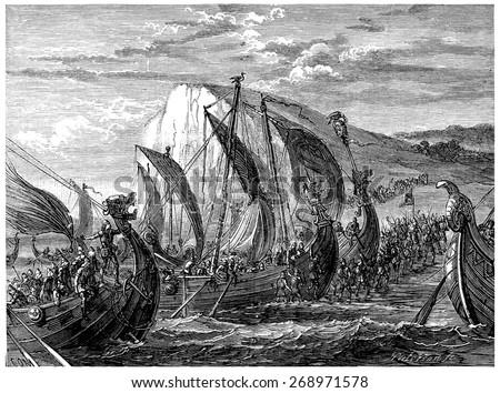 Viking landing, vintage engraved illustration. Journal des Voyage, Travel Journal, (1880-81). - stock photo