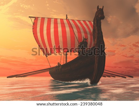 Viking Man and Longship - A Viking longboat sails to new shores for trading and companionship. - stock photo