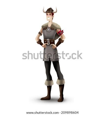 Viking man standing - stock photo