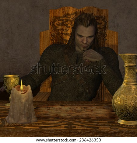 Viking Map - A Viking man in ancient times ponders over a map of the Atlantic Ocean. - stock photo