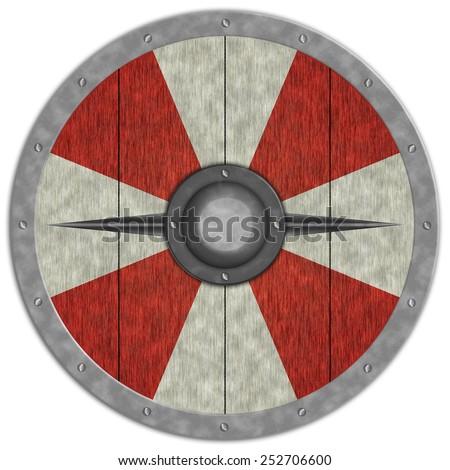Viking Medieval Circle Shield - stock photo