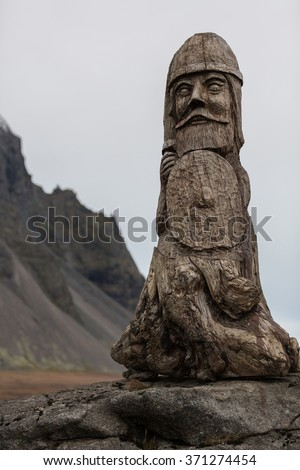 Viking ruin carving artifact on rock - stock photo