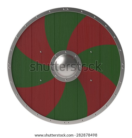 Viking shield with red-green cross pattern - stock photo