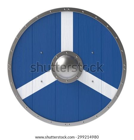 Viking shield with white-blue cross pattern - stock photo