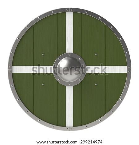 Viking shield with white-green cross pattern - stock photo