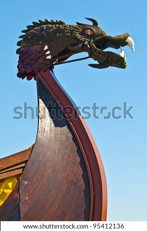 Viking ship - drakkar. Bow close-up - stock photo