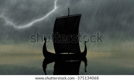 Viking ship  on a calm sea in front of a stormy sky - stock photo