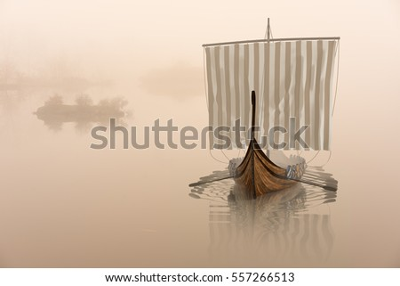 Viking ship on the water in the mystical fog. Drakkar in the calm of nature.